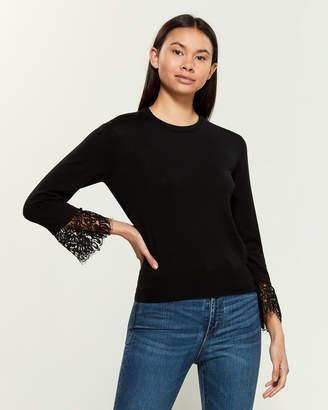 Moschino Lace Cuff Long Sleeve Wool-Blend Sweater