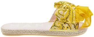 Manebi Bandana Flat Sandals With Bow Yellow