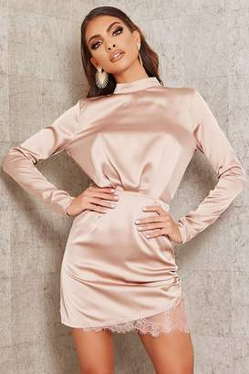 I SAW IT FIRST Champagne Satin & Lace Open Back Bodycon Dress