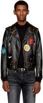 Saint Laurent Black Leather Multi-Patch Motorcycle Jacket