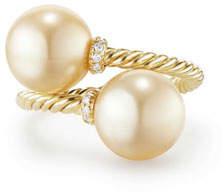 David Yurman Solari 18k Pearl Bypass Ring w/ Diamonds, Size 7