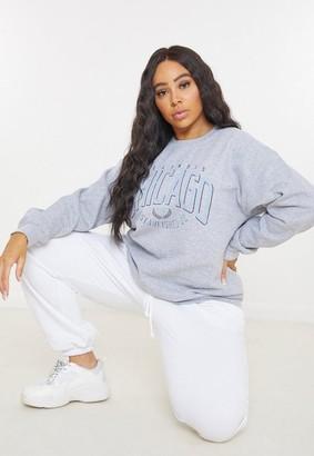 Missguided Plus Size Gray Chicago Graphic Sweatshirt