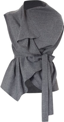 Meem Label Lincoln Asymmetric Wrap Top Grey