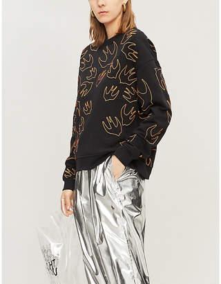 McQ Swallow-print cotton jersey sweatshirt