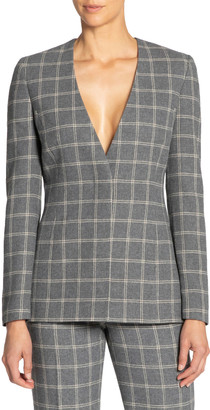 Santorelli Flannel Plaid Jacket w/ Covered Button Closure