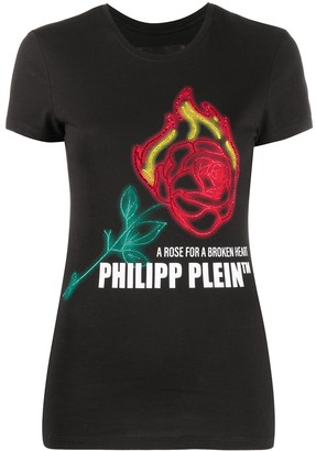 Philipp Plein embellished rose print T-shirt