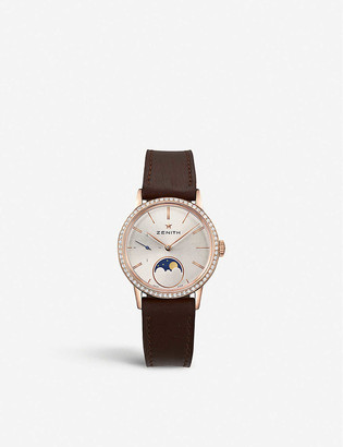 Zenith 22.2330.692/01.C713 Elite Lady Moonphase calfskin-leather and diamond watch