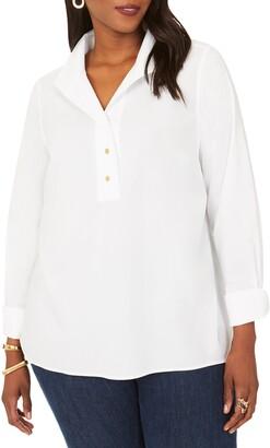 Foxcroft Evelina Long Sleeve Popover Blouse