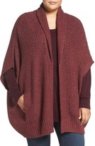 Melissa McCarthy Shimmer Knit Open Front Cardigan (Plus Size)