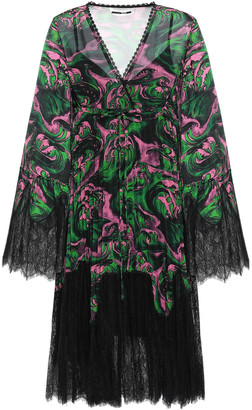 McQ Wrap-effect Lace-paneled Printed Georgette Dress