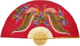 Oriental Furniture Asian Art, Decor and Gifts, 40-Inch Red Painted Thai Silk and Bamboo Decorative Wall Fan, Wisdom Peacocks