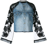 Aviu lace-sleeve denim jacket - women - Silk/Cotton/Polyamide/Viscose - S