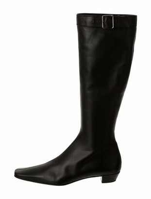 Gucci Leather Pointed-Toe Boots Black