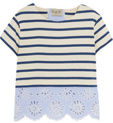 Sea Broderie Anglaise Striped Cotton Poplin-Paneled Striped Cotton-Jersey Top
