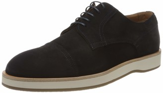 HUGO BOSS Mens Oracle Derb Derby Shoes in Calf Suede with Rubber Sole Dark Blue