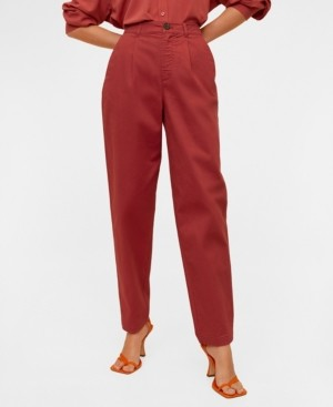 MANGO Women's Relaxed Fit Cropped Trousers