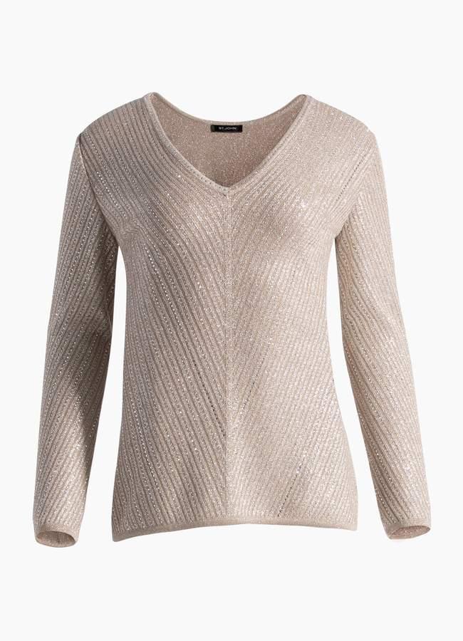 St. John Brielle Knit V-Neck Sweater