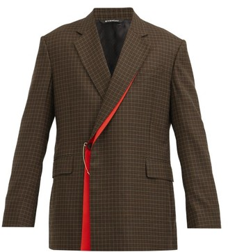 Givenchy Gun Club-check Wrap-front Wool-twill Suit Jacket - Brown