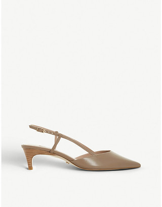 Dune Cinnamon slingback faux-leather courts