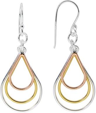 Primavera 24k Tri-Tone Gold Over Sterling Silver Graduated Teardrop Drop Earrings