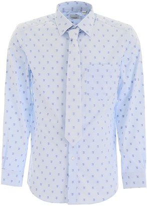 Burberry All-Over Logo Embroidered Shirt And Tie