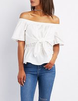 Charlotte Russe Off-The Shoulder Tie-Front Top
