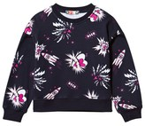 MSGM Navy Space Print Cropped Sweatshirt