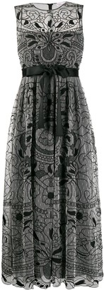 RED Valentino Embroidered Lace Midi Dress