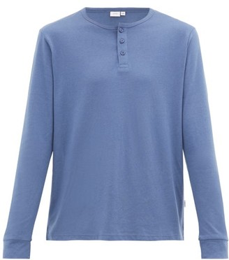 Onia Miles Long-sleeved Cotton And Modal Henley Top - Mens - Blue