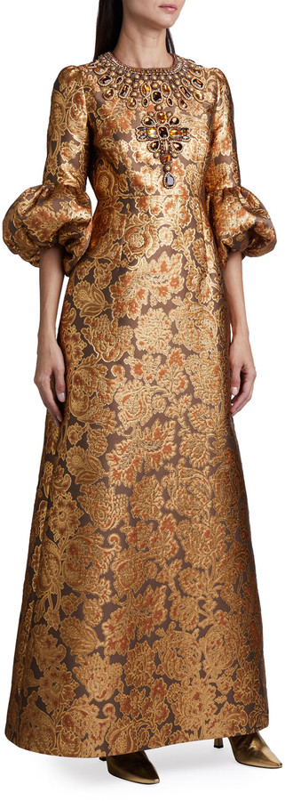Andrew Gn Brocade Balloon-Sleeve Gown
