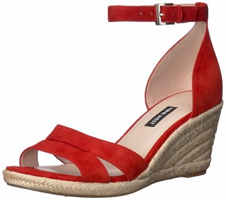 Nine West Womens Jabrina Espadrille Wedge Sandal Fiery Red 10 M