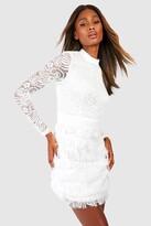 Thumbnail for your product : boohoo Lace Fringe High Neck Mini Dress