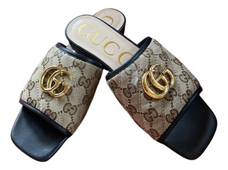 Gucci Marmont Brown Cloth Sandals