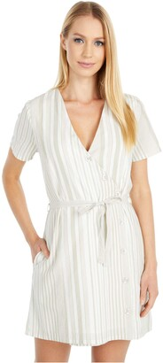 RVCA Junior's Touch Woven Button Front Dress