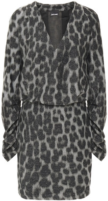 Just Cavalli Ruched Metallic Leopard-print Knitted Mini Dress