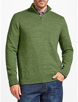 John Lewis Budding Cotton Zip Neck Jumper, Green