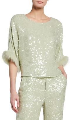 Sally LaPointe Sequined Viscose Dolman Top w/ Fox Fur