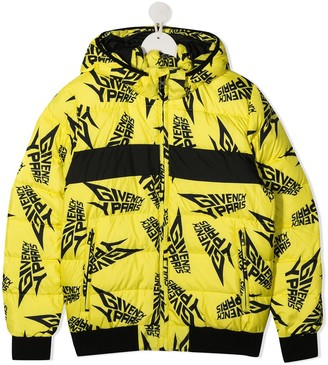 Givenchy Kids TEEN quilted logo down coat