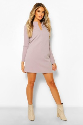 boohoo Long Sleeve V Front Shift Dress