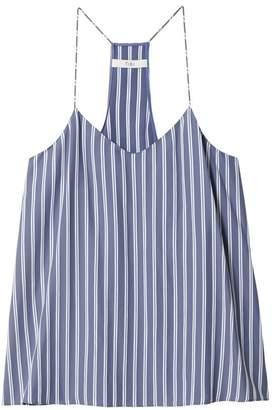 Tibi Stripe Viscose Twill Classic Cami in Dusty Blue Multi