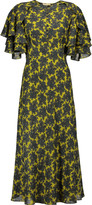 Michael Kors Abingdon ruffled printed silk midi dress