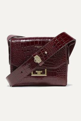 Givenchy Eden Small Croc-effect Leather Shoulder Bag - Merlot