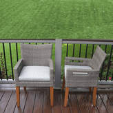 OUTDOOR INTERIORS Outdoor Interiors Wicker and Eucalyptus Arm Chairwith Cushion