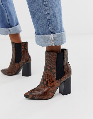 Call it SPRING by ALDO Highrise heeled ankle boots in snake print