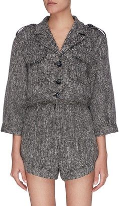 C/Meo Prophecy woven button front patch pockets crop jacket