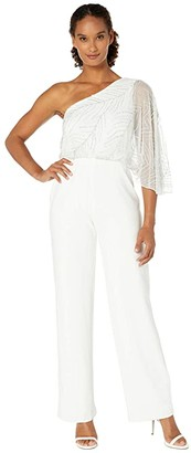 Adrianna Papell Beaded One Shoulder Jumpsuit with Crepe Pants (Ivory) Women's Jumpsuit & Rompers One Piece