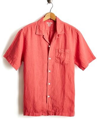 Todd Snyder Short Sleeve Camp Collar Linen Shirt in Nantucket Red