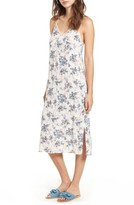 Lush Women's Lace Trim Floral Print Slipdress