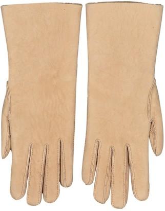 Hermes Beige Shearling Gloves