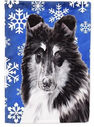 Caroline's Treasures Black and White Collie Winter Snowflakes Flag Canvas House Size